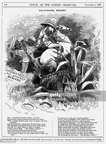 'Pigstickers Beware' 1878 Lord Lytton the Viceroy of India wearing a topee tests the point of a spear as his horse rears The Indians behind him urge...