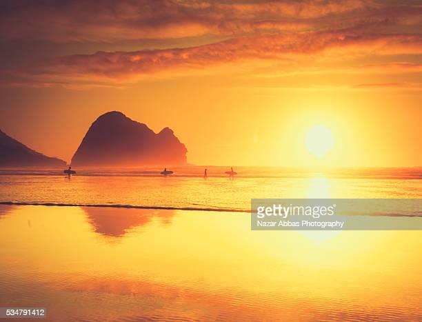 Piha Beach at Sunset