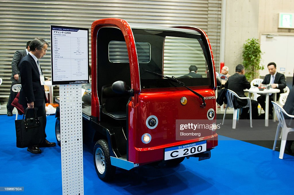 A Pihsiang Energy Technology Co. Achensa C200 vehicle is displayed at Automotive World 2013 in Tokyo, Japan, on Friday, Jan. 18, 2013. The Automotive World 2013 trade show ends today. Photographer: Noriko Hayashi/Bloomberg via Getty Images