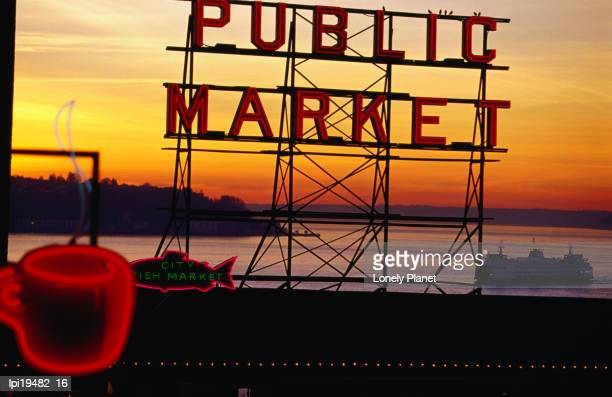 Pike Place Market sign, Seattle, Washington, United States of America, North America