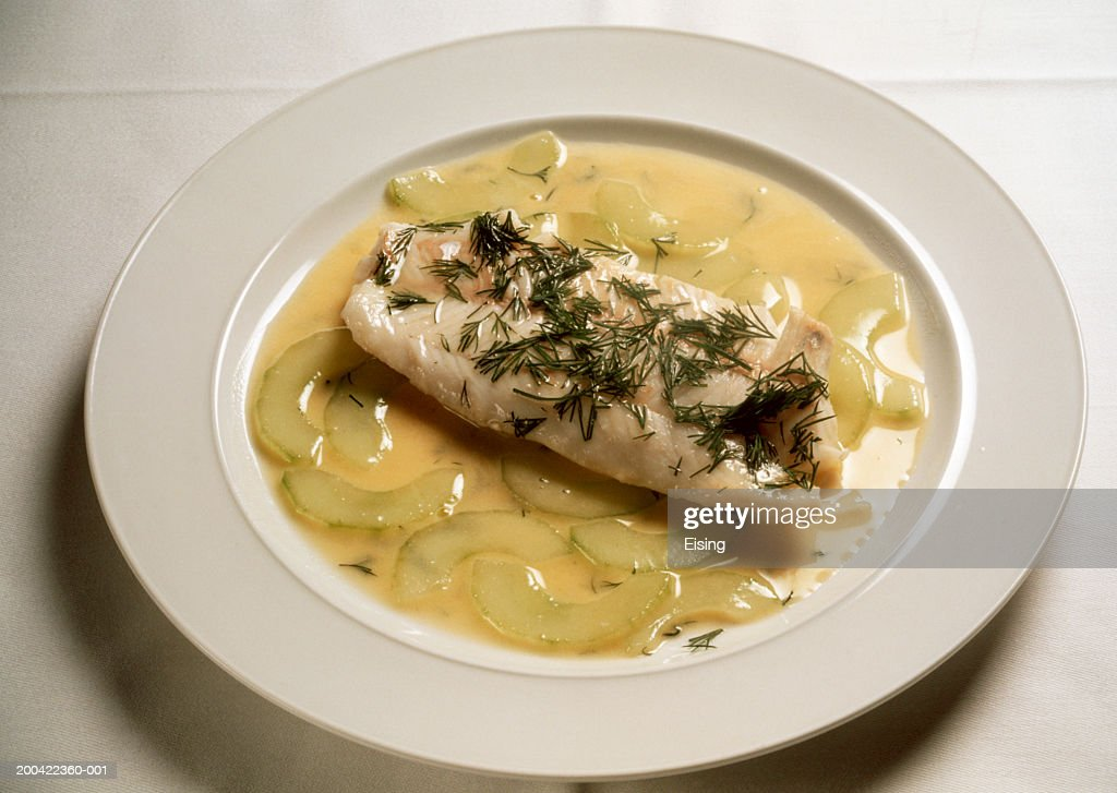 Pike-Perch with stewed Cucumber : Stock Photo