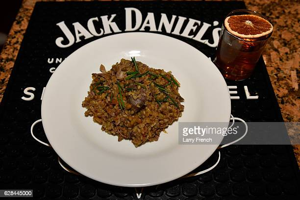 Pilaf of Freekah lentils and braised lamb with carmelized onions is served with a JDSB Rye Old Fashioned at Sip Simmer Savor A Culinary Event Series...