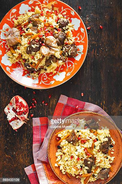 Pilaf with lamb meat and pomegranate