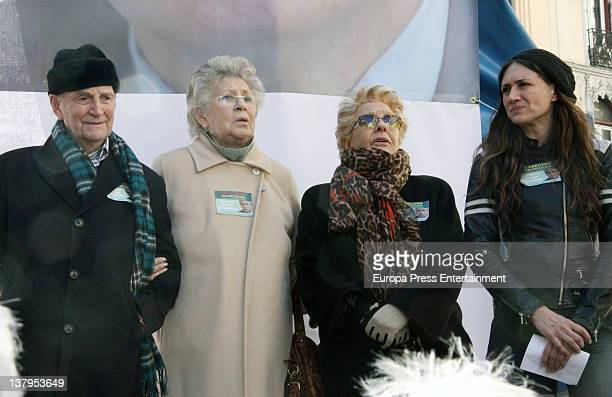 Pilar Bardem Lola Herrera and Maria Botto attend the demonstration to support Spanish judge Baltasar Garzon on January 30 2012 in Madrid Spain