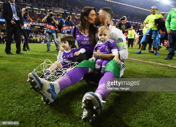 Pilar Rubio and Sergio Ramos of Real Madrid kiss after the UEFA Champions League Final between Juventus and Real Madrid at National Stadium of Wales...