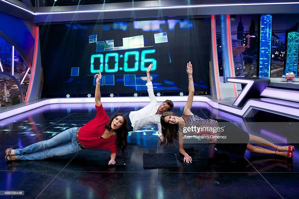 Pilar Rubio Pablo Motos and Brazilian top model Alessandra Ambrosio attend 'El Hormiguero' TV show at Vertice Studio on September 10 2014 in Madrid...