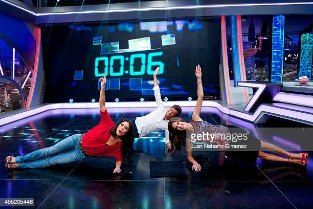 Pilar Rubio Pablo Motos and Brazilian top model Alessandra Ambrosio attend 'El Hormiguero' TV show at Vertice Studio on September 10 2014 in Madrid...