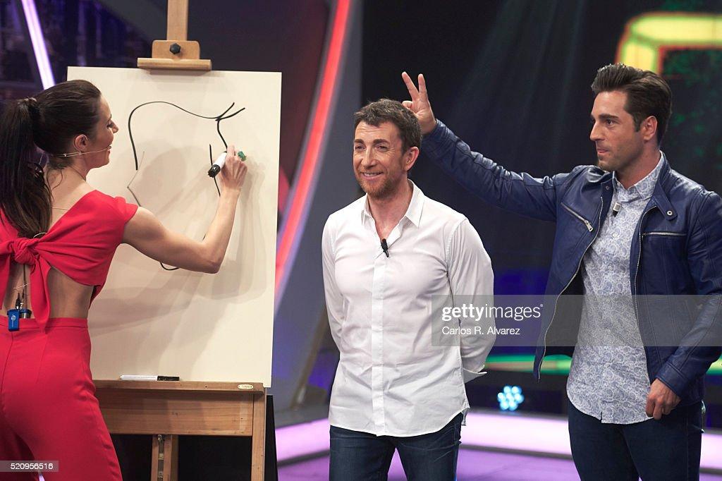 Pilar Rubio Pablo Motos and Spanish singer David Bustamante attend 'El Hormiguero' Tv Show at Vertice Studio on April 13 2016 in Madrid Spain