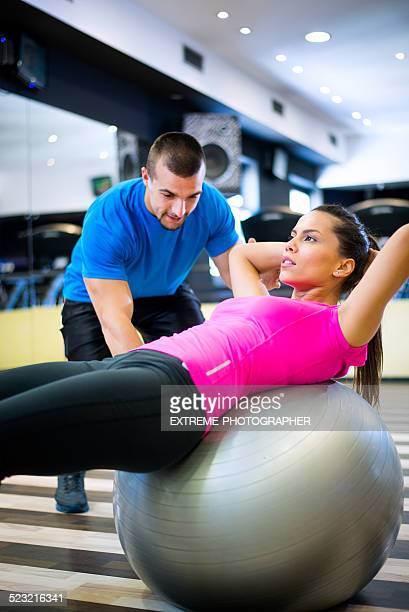 Pilates exercises in the gym