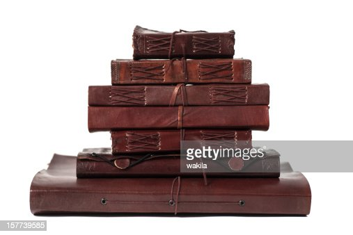 pile brown leatherbooks diary and notebooks from indiary : Stock Photo