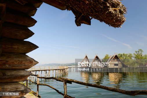 Pile Dwelling Houses in Unteruhldingen Lake Constance Roof View