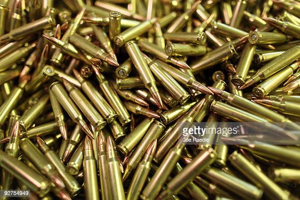 A pile of 223 ammunition is seen as it is prepared for shipping at Stone Hart Ammo Manufacturing Company November 4 2009 in Miami Florida Ammunition...
