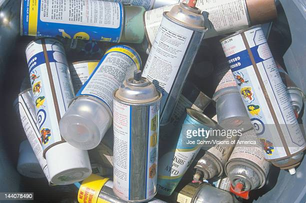 Pile of aerosol cans waiting for safe disposal at a Unocal station in Los Angeles CA