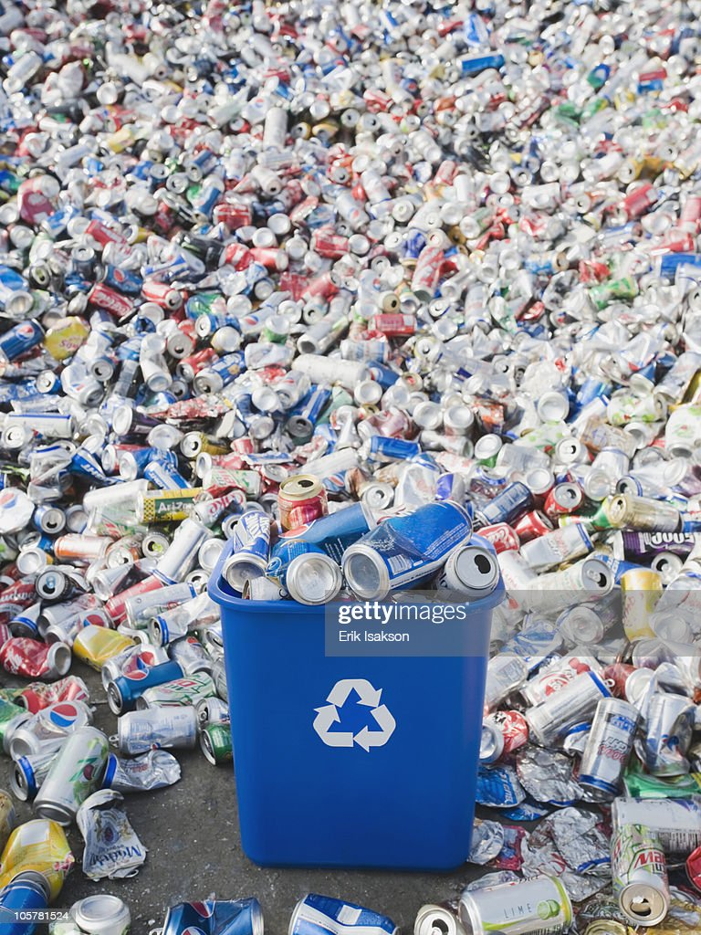 Pile of aluminum cans at recycling plant : Stock Photo