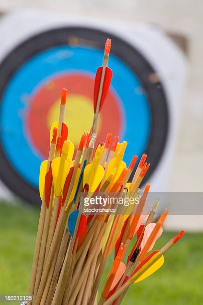 Pile of arrows in front of archery target