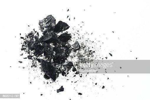 Pile of black coal bars isolated on white background : Stock Photo