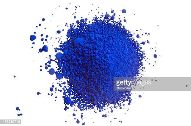 Haufen von farbigen auf Weiß Blau