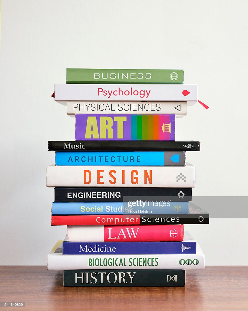 Pile of books depicting study choices.\