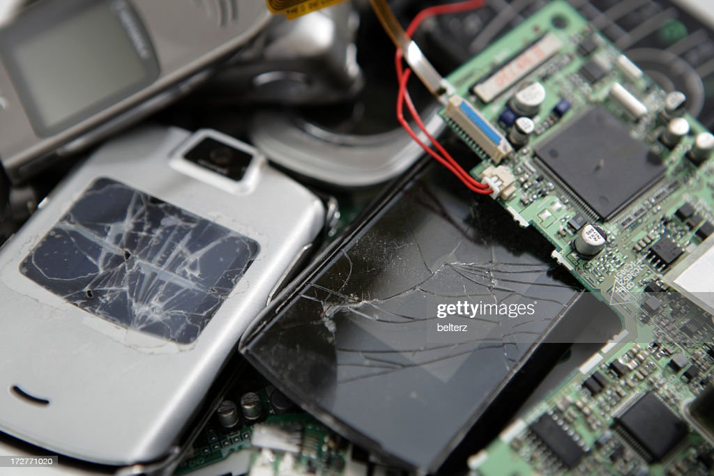 Pile of broken electronic gadgets : Stock Photo