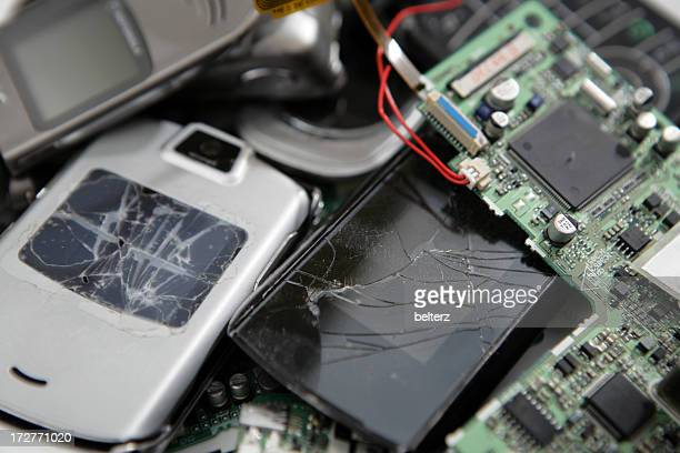 Pile of broken electronic gadgets