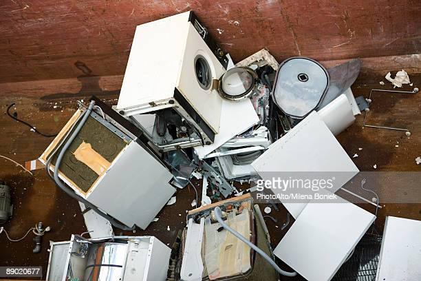 Pile of broken washing machines