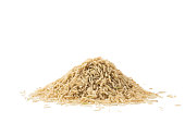 Pile of brown basmati rice isolated on white background