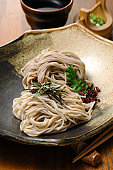 Pile of Buckwheat Noodles on Plate