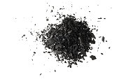 Pile of Carbon charcoal  dust isolated on white background