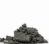 pile of charcoal on white background