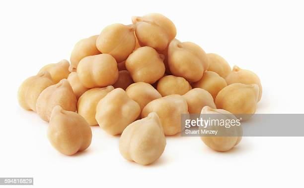 Pile of chick peas on white background