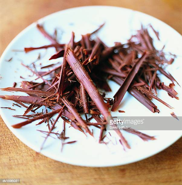 Pile of Chocolate Shavings on a Plate