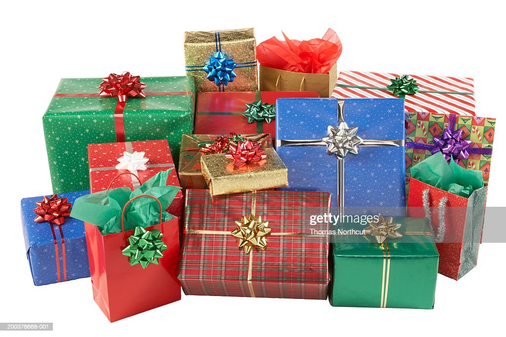 Pile of christmas gifts stock photo getty images