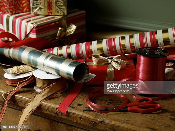 Pile of Christmas wrapping, ribbon and tape