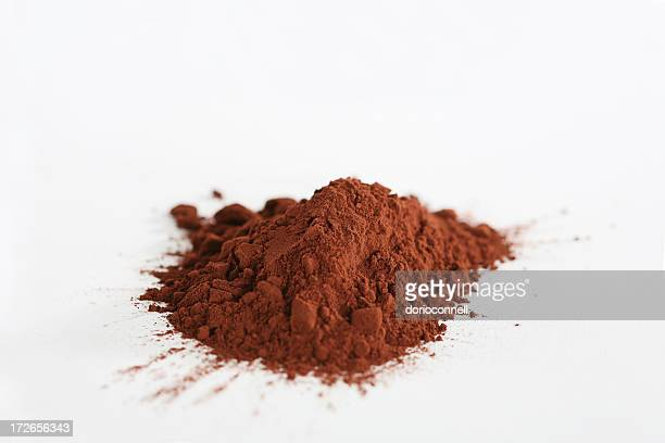 A pile of cocoa powder on a white surface
