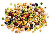 Mixture of dry beans and peas isolated on white background