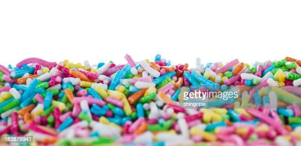 A pile of colorful sugar sprinkles