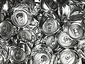 Pile of crushed drink cans