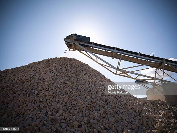Pile of crushed stone in quarry