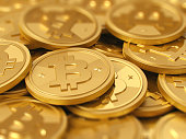 Closeup of a pile of golden coins - bitcoin cryptocurrency, realistic 3d illustration