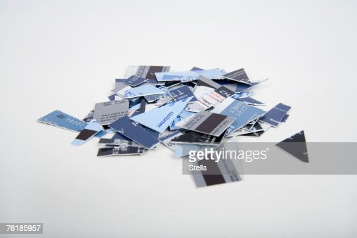 A pile of cut up credit cards
