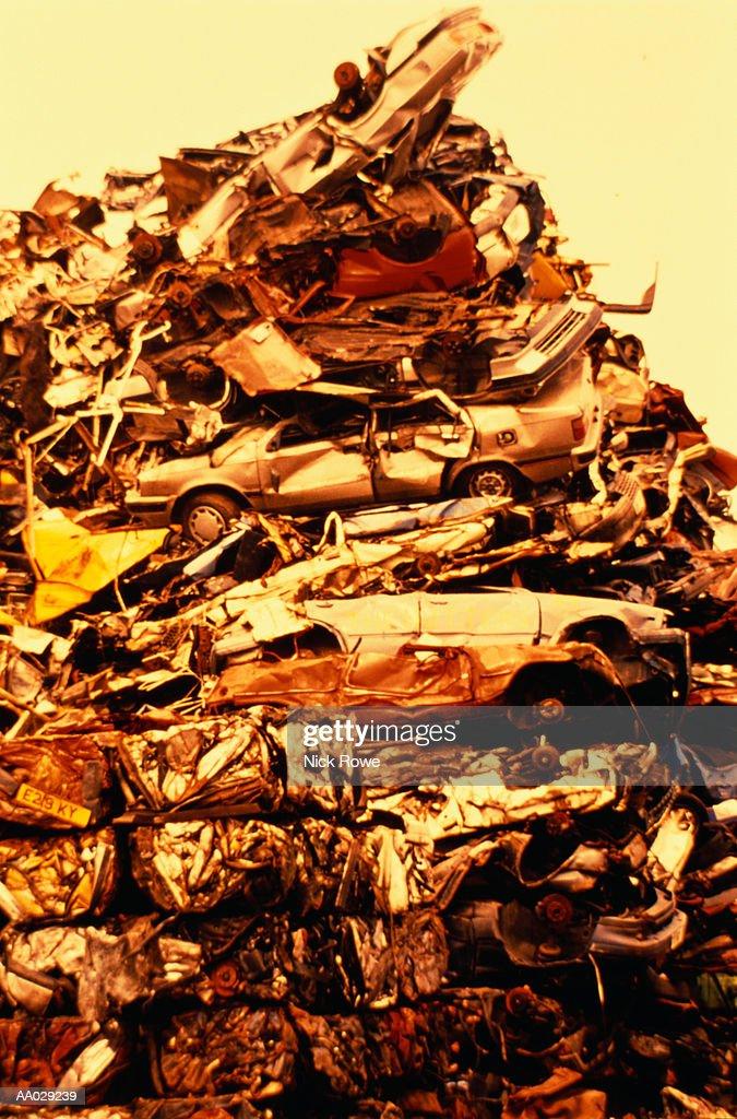 Pile of Demolished Automobiles : Stock Photo