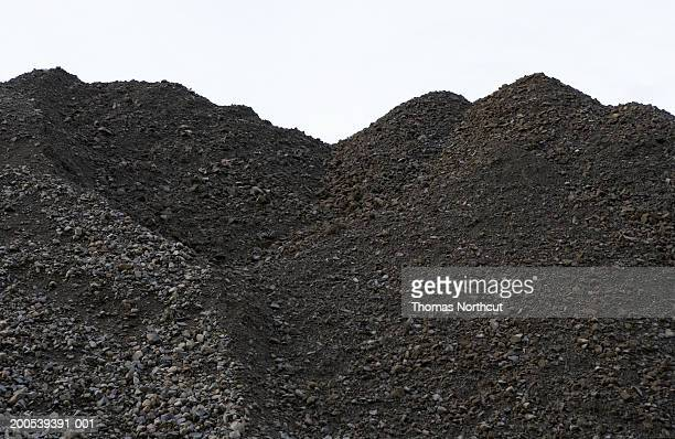 Pile of dirt and rock at road construction site