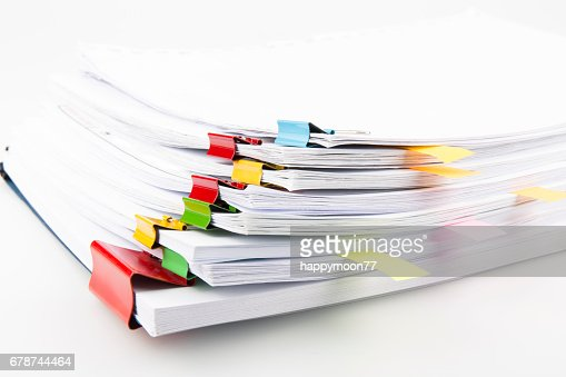 Pile of documents with colorful clips : Stock Photo