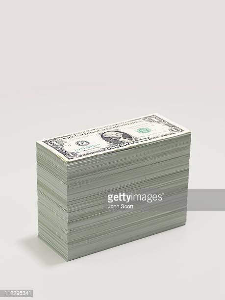 A pile of dollar bills