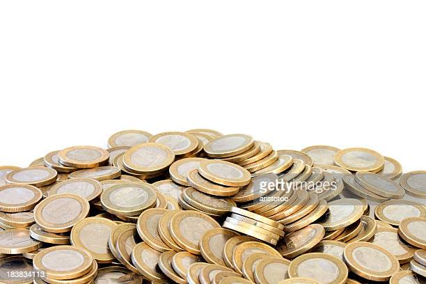 Pile of Euro Coins on White