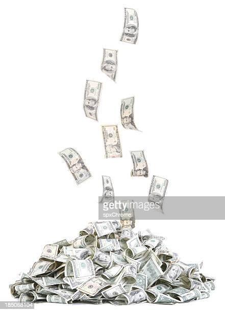 Haufen sinkende Geld