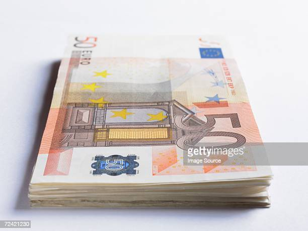 Pile of fifty euro notes