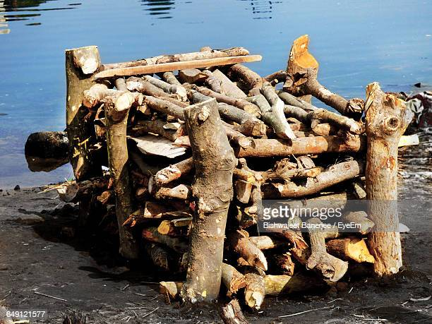Pile Of Firewood During Cremation At Riverbank