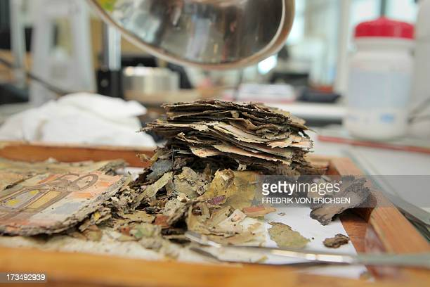 A pile of flooddamaged fifty euro banknotes lie on a table at the counterfeit analysis center of the German Federal Bank in Mainz Germany on July 15...