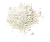 Pile of flour isolated on white background. Top view. Flat lay.